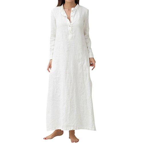 Maxi Smock (XILALU Women Split Kaftan Cotton Linen Long Sleeve Button V Neck Plain Casaul Loose Oversized Maxi Dress with Pocket)