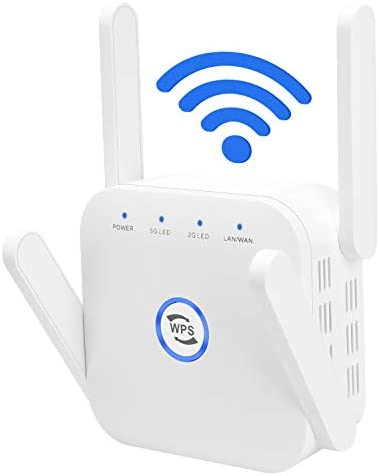 Whew WiFi Extender Signal Booster, 1200Mbps Wireless Internet Amplifier, Dual Band 2.4G & 5Ghz WiFi Extender, 4 Antennas Full Coverage with Ethernet Port and WPS, Ap Repeater Mode