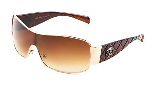 Kleo Lion Head Medallion Sport Wrap One Piece Sunglasses (Brown & Gold, - Sunglasses Kleo