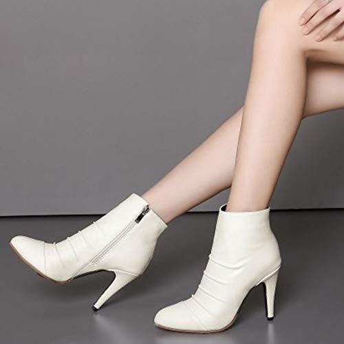 Sjjh White Stiletto Boots Women Ankle FT7qSf