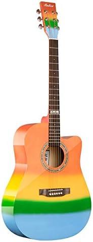 ギター 入門ギター専門の性能試験41インチレインボーライトギター アコースティックギター (Color : Multi-colored, Size : 41 inches)