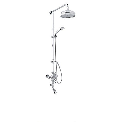 - Rohl AC414X-APC Cisal Shower System with Exposed Thermostatic Valve, Shower Head, Polished Chrome