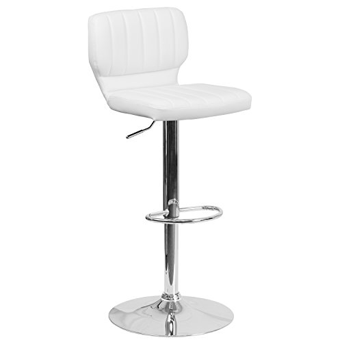 (Flash Furniture Contemporary White Vinyl Adjustable Height Barstool with Chrome)