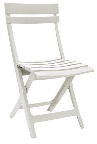 Grosfillex 49036004 Silla Plegable Miami, Blanco, 50 x 42 x 8
