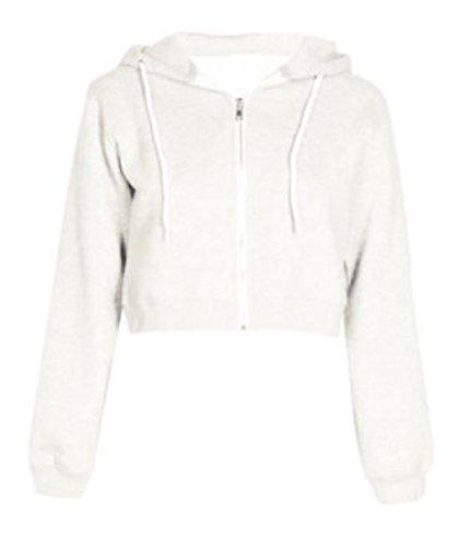 Hooded Cardigan Full Zip (Zimaes-Women Cropped Hooded Silm Fit Tops Cardigan Full-Zip Sweatshirts White L)