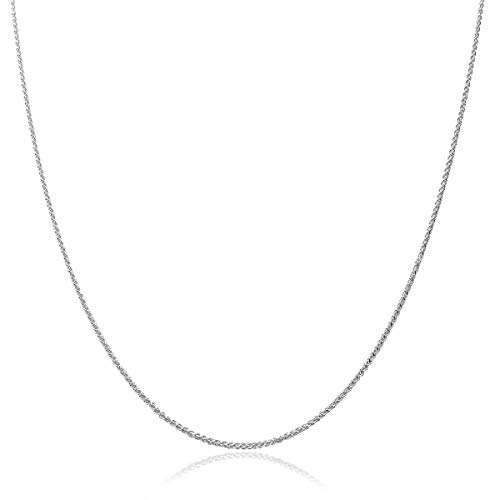 - Honolulu Jewelry Company 10K Solid White Gold 1mm Adjustable Wheat Chain Necklace (24 Inches)