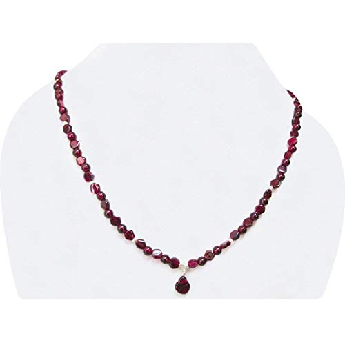Garnet Bead Necklace - Natural Garnet Beads Necklace Strand with Sterling Silver Findings January Birthstone Jewelry