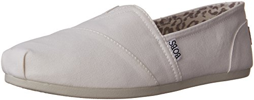 BOBS from Skechers Women's Plush Peace and Love Flat,White,7 M US (Best Flat Shoes Brand)