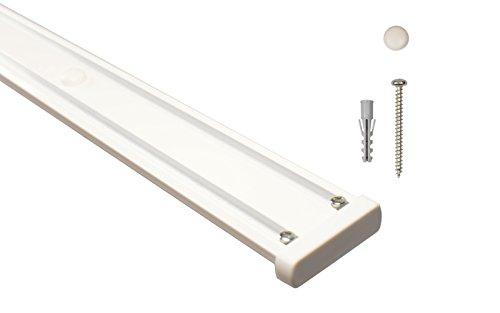 Gardinenschienen 2 läufig aus Aluminium in weiß - vorgebohrt, 400 cm (2 x 200 cm)