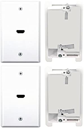 Dual Port Ethernet and HDMI 2.0 Wall Plate with Mounting Brackets PowerBridge Solutions PB-HDMI2-1 White