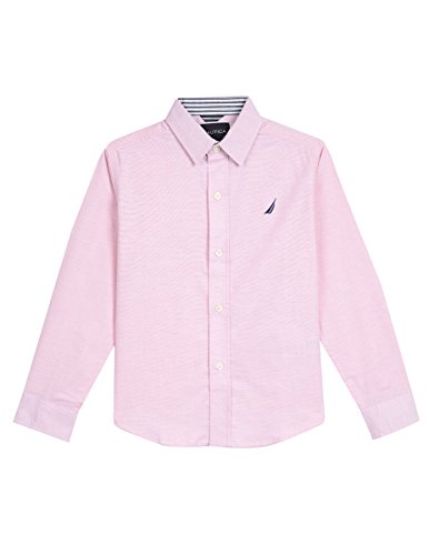 Nautica Boys' Big Long Sleeve Solid Woven Shirt, Imperial Peach, Large ()
