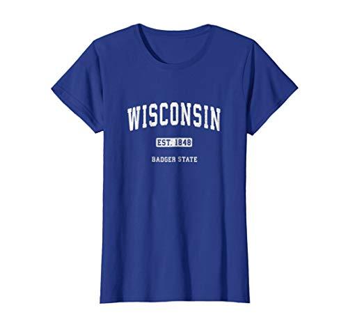 Womens Wisconsin WI T-Shirt Vintage Sports Design Retro Varsity Tee Small Royal Blue -