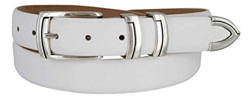 Harbor Men's Italian Genuine Calfskin Leather Designer Dress Belt In Smooth White, Size 46 (Italian Leather White Designer)