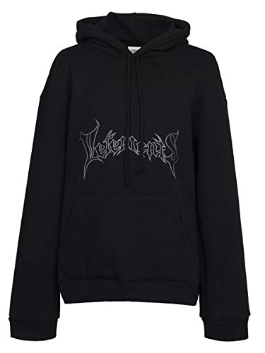 CraveLook Men's Oversized Classic Graphic Print Embroidered Hoodie (Black)