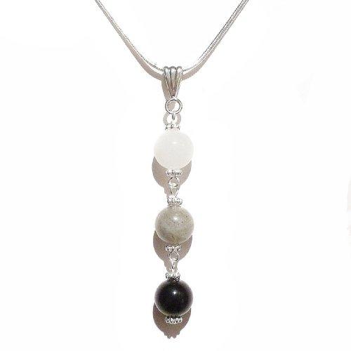 Labradorite White Pendant (Graduated Colour Semi-precious Pendant - Black w/ White Chalcedony, Labradorite & Black Onyx)
