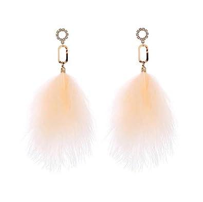 4c79fc9f44b90 OOMPH Jewellery Peach Feather Bohemian Statement Drop Fashion Earrings  (EKM40) - Peach, White, Brown, Gold