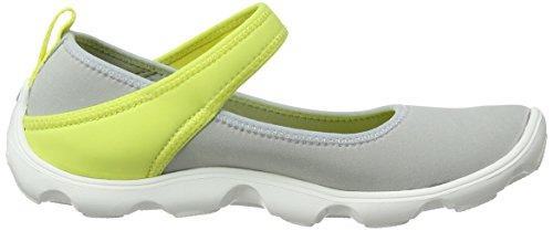 Crocs Duet Busy Day Mary Jane GS - Bailarinas de sintético para niña Grigio (Light Grey/Chartreuse)