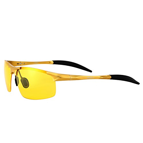 HD Night Driving Vision Glasses Soxick Men's Polarized Sports Sunglasses UV400 Driving Glasses Golden - Polarized Sunglasses Lcd And Screens