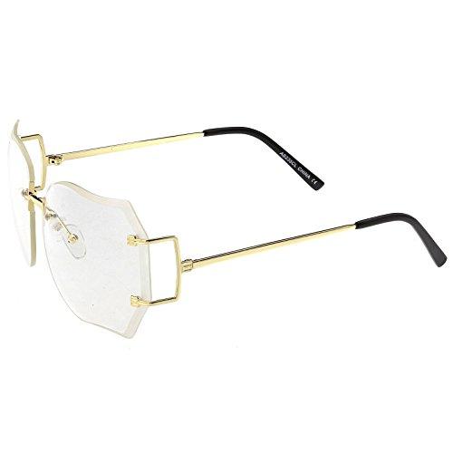 sunglassLA - Oversize Rimless Square Glasses Slim Metal rams Beveled Clear Lens 61mm (Gold / Clear - Asos Glasses