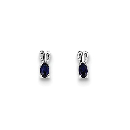 Mia Diamonds 925 Sterling Silver Simulated Sapphire Earrings (10mm x 4mm) by Mia Diamonds and Co.