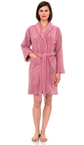 - TowelSelections Women's Robe, Plush Fleece Short Spa Bathrobe Small Pink