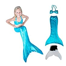Hand-made Mermaid Swim Tail for Swimming (Turquoise Bikini Top & Monofin)