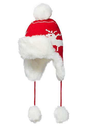 Nothing But Love Women Trapper Hat with Ear Flaps Pom Pom Knit Reindeer Design Faux Fur Ushanka Cap (Red/White) (Pom Trapper)