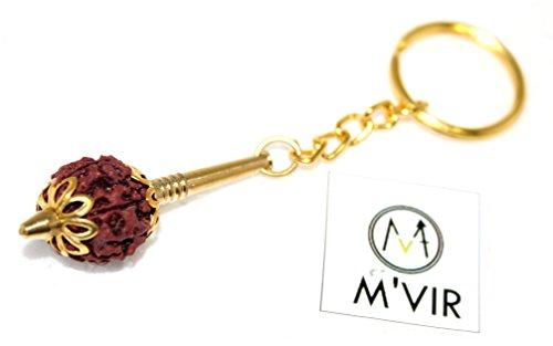 M'VIR Jay Hanuman/Bajrangi/Bhima Mace/Gada Keychain with Rudraksh Pack of 3 Comes with Secure Velvet Pouch. -