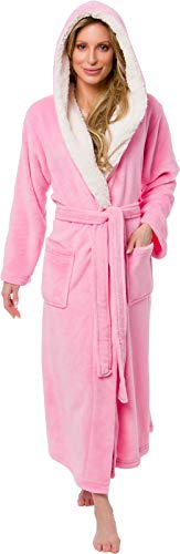 (Silver Lilly Full Length Hooded Long Robe - Women's Luxury Plush Bathrobe w/Sherpa Trim Collar (Pink, XX-Large))