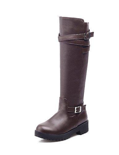 cuero Brown Zapatos Robusto Uk4 us8 Redonda Cn39 Uk6 Eu36 Cerrada Oficina Xzz Mujer Eu39 Botas Exterior Punta Cn36 Vestido De Tacón Brown us6 Casual Y Trabajo Ipddqx1Z