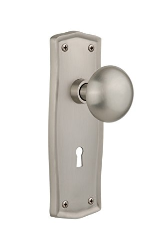 (Nostalgic Warehouse Prairie Plate with Keyhole New York Knob, Single Dummy, Satin Nickel)