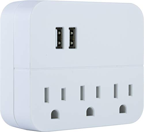 (GE USB Charging Station Outlet Adapter, 3 Outlet Adapter, 2 USB Ports, Wall Tap, 3 Prong Outlet, USB 1.0A, UL Listed, White, 32193)