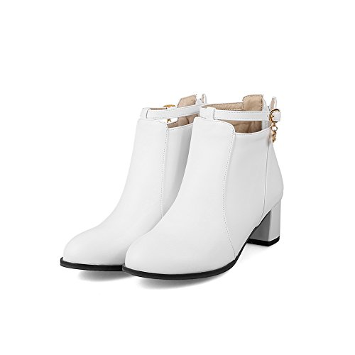 BalaMasa Womens Slip-Resistant Buckle Pointed-Toe Urethane Boots ABL09893 White T3DY8M