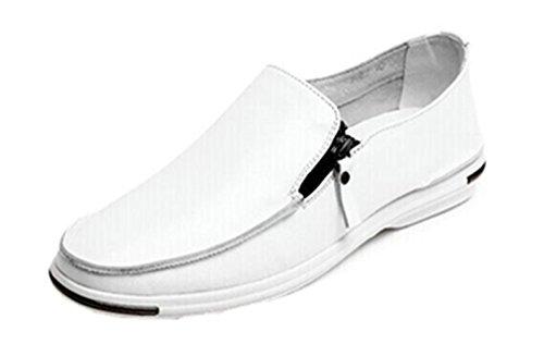 Happyshop (tm) Mocasín Ventilado De Cuero Para Hombre Casual Slip-on Penny Mocasín Zapato De Conducción De Verano Blanco