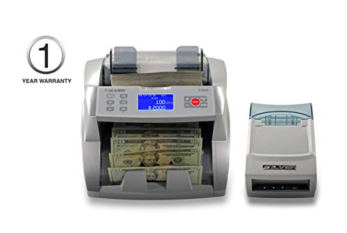 New SILVER by AccuBANKER S3500 Flex Bill Counter + SP20 Thermal Printer - Manual Batch Value Function - Count Up to 1,700 Bills/Min - UV/MG Counterfeit Detection Included