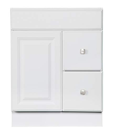 Design House 545053 Wyndham White Semi-Gloss Unassembled Vanity without Top features 1-Door and 2-Drawers, 24