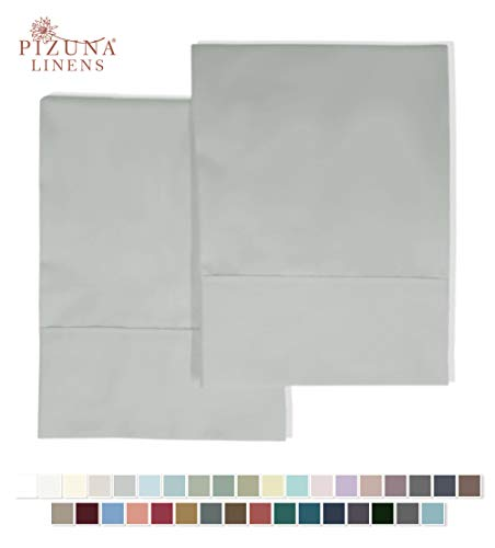 Pizuna 400 Thread Count Cotton Standard Pillowcases Light Grey 100 Long Staple Cotton Satin Pillowcase With Stylish 4 Inch Hem Set Of 2 Pillow Covers Silver Gray Standard 100 Cotton Pillow Cases
