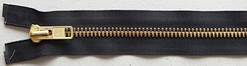 (#10 Solid Brass Heavy Separating Metal Zipper by YKK Brand (Black, 24