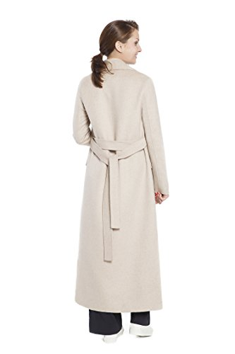 RLM Ladies Handmade Fashion Coat Woolen Double-Breasted Coat with Belt Slim Coat (12, Light Brown) by RLM (Image #4)