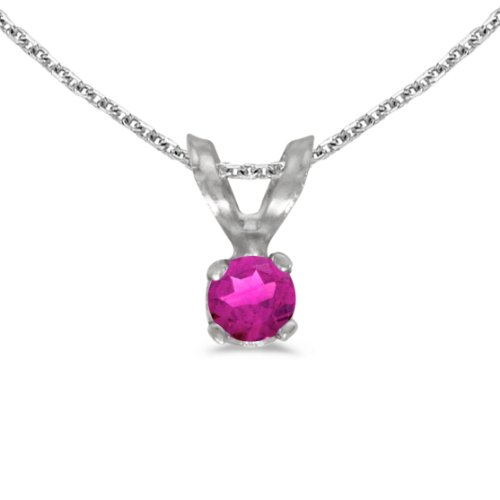 Jewels By Lux 14k White Gold Genuine Birthstone Round Pink Topaz Pendant (0.09 Cttw.)