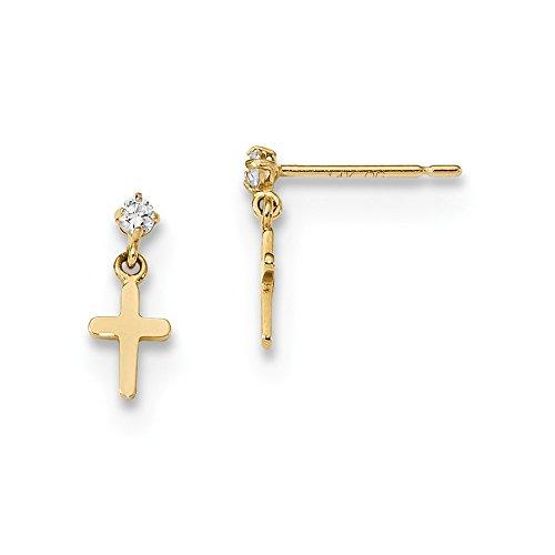 (14k Yellow Gold Childrens Cubic Zirconia Cz Cross Religious Post Stud Drop Dangle Chandelier Hoop Earrings Ear Hoops Set Fine Jewelry Gifts For Women For)