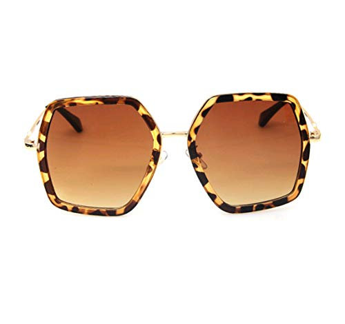 GAMT Oversized Square Sunglasses Women Vintage UV Protection?irregular Brand Designer Shades (leopard) (Sunglasses Square)