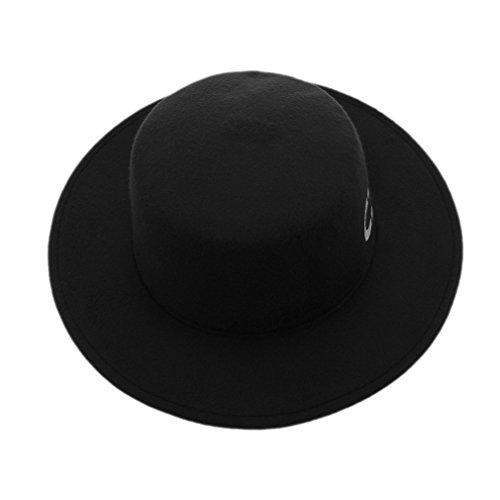 Smile YKK Women Vintage Wide Brim Wool Felt Floppy Trilby Bowler Fedora Hat Black