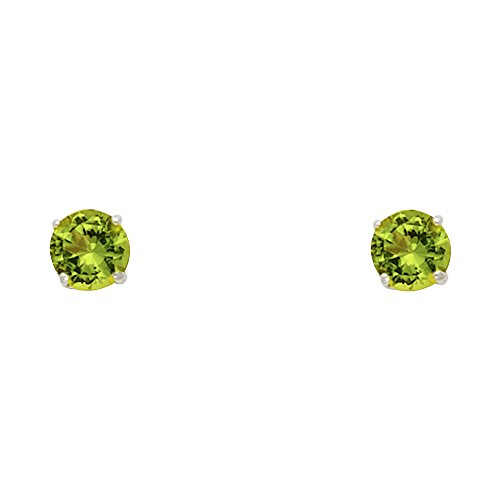 14k White Gold 4mm Round Solitaire Basket Set Stud Earrings with Screw Back - 12 Different Color Available