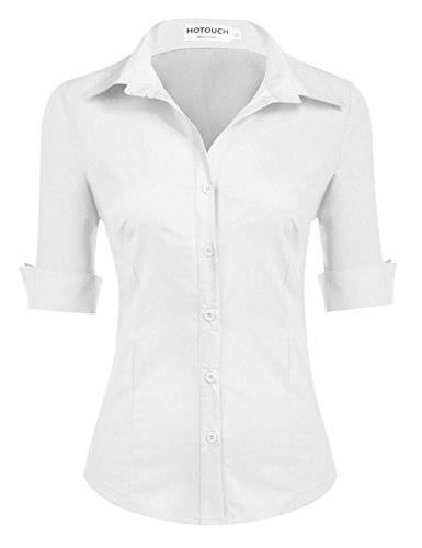 - Hotouch Womens Roll Up 3/4 Sleeve Button Down Shirt with Stretch (White L)