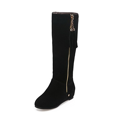 Low Round Closed Frosted On Heels Boots Toe Pull Black Solid Women's AgooLar qBI0w