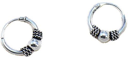 Real 925 Sterling Silver Bali Earring Hoops Black Oxidized Unisex 1/2