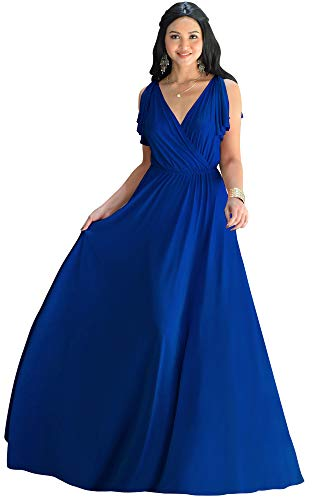 KOH KOH Plus Size Womens Long V-Neck Sleeveless Flowy Prom Evening Wedding Party Guest Bridesmaid Bridal Formal Cocktail Summer Floor-Length Gown Gowns Maxi Dress Dresses, Cobalt Royal Blue XL 14-16