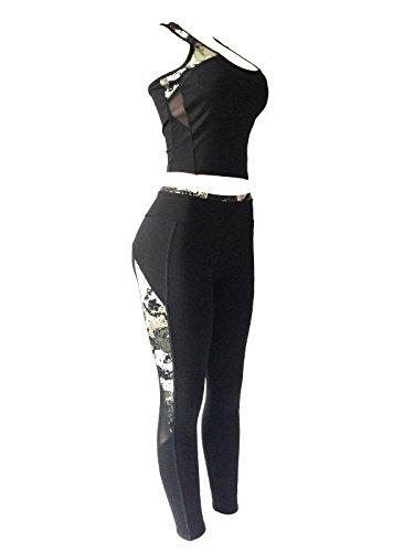 Women Sports Gym Yoga Suit Workout Activewear 2 Pieces Top+Leggings Set (L/XL, Plum/White/Black Mix)