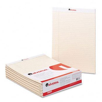 Universal® Fashion Colored Perforated Ruled Writing Pads PAD,LGL RULD,8.5X11,IY (Pack (Fashion Colored Perforated Ruled Writing)